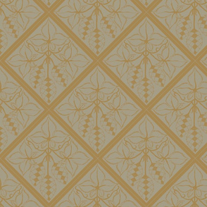Formal mustard hops on an old linen BG