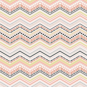 Dash and Dot - Chevron Stripe Pink & Grey