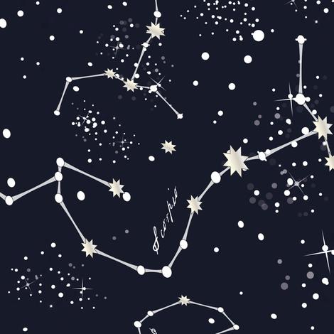 Zodiac Constellations - Scorpio fabric by elliottdesignfactory on Spoonflower - custom fabric