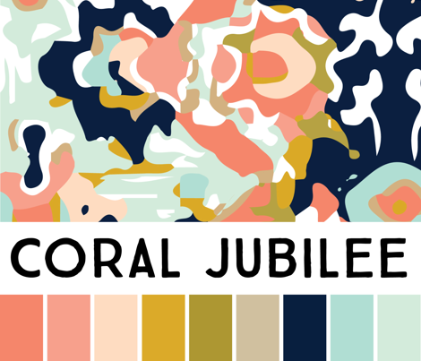 hexagon wholecloth // coral jubilee coordinate
