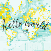 hello world baby blanket or swaddle // yellow