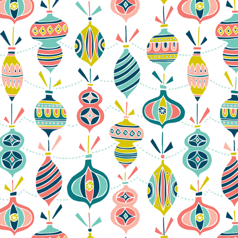 Decorated - Christmas Ornaments White  fabric by heatherdutton on Spoonflower - custom fabric