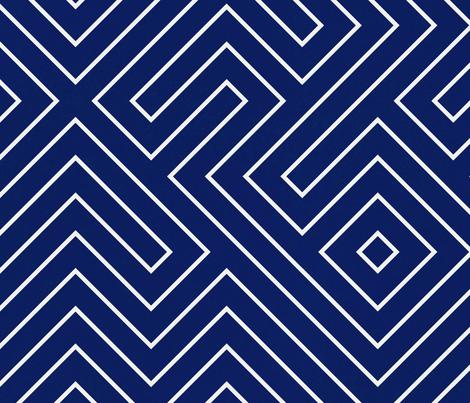 tribal_maze_cream on navy fabric by danika_herrick on Spoonflower - custom fabric
