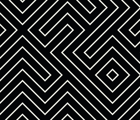 tribal_maze_cream_on_ink fabric by danikaherrick on Spoonflower - custom fabric