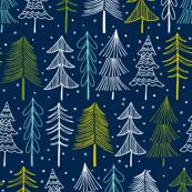 Oh' Christmas Tree Navy Blue