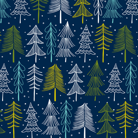 Oh' Christmas Tree - Navy Blue fabric by heatherdutton on Spoonflower - custom fabric