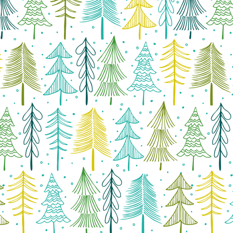 Oh' Christmas Tree - White & Aqua fabric by heatherdutton on Spoonflower - custom fabric