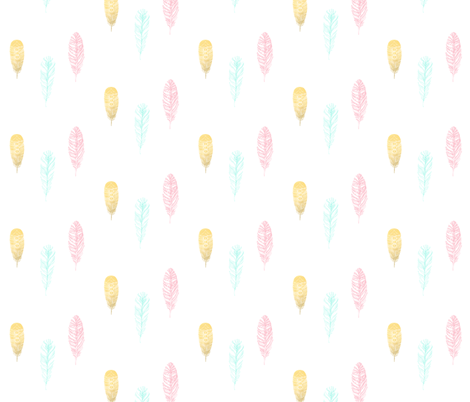 Falling Feathers - Gold Foil, Pink, Aqua fabric by ajoyfulriot on Spoonflower - custom fabric