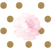 Light Pink Vintage Flower & Gold Dots