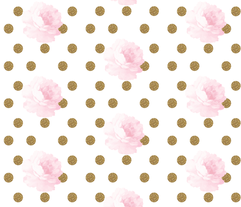 Light Pink Vintage Flower & Gold Dots fabric by ajoyfulriot on Spoonflower - custom fabric