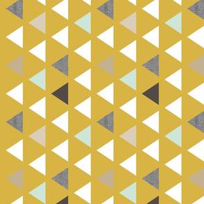 Mod Mustard Triangles 90 deg