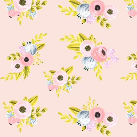 Floral pattern - light pink fabric by ajoyfulriot on Spoonflower - custom fabric