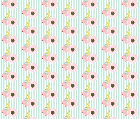 floral stripe (tight) fabric by ajoyfulriot on Spoonflower - custom fabric