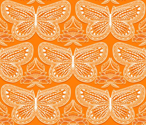 Butterfly Tonal Orange fabric by cjldesigns on Spoonflower - custom fabric