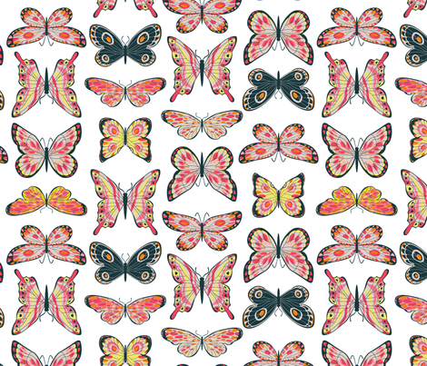 Painted Butterflies fabric by cjldesigns on Spoonflower - custom fabric