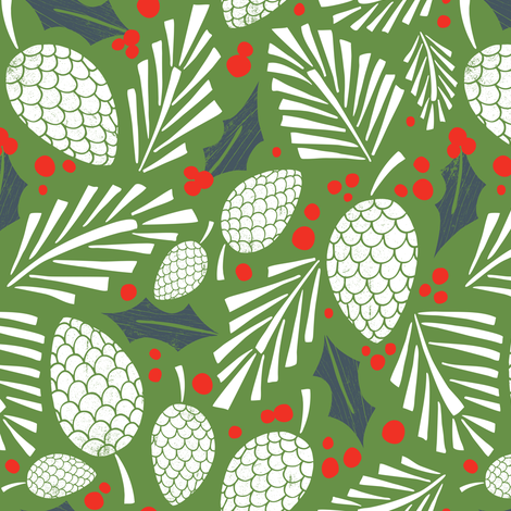 Winter Woodlands - Pinecones Green fabric by heatherdutton on Spoonflower - custom fabric