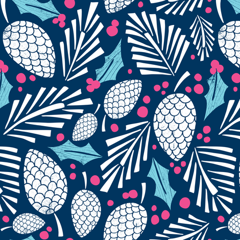 Winter Woodlands - Pinecones Navy Blue fabric by heatherdutton on Spoonflower - custom fabric