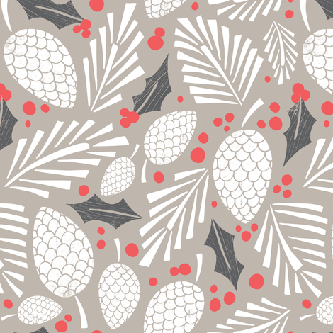 Winter Woodlands - Pinecones Taupe fabric by heatherdutton on Spoonflower - custom fabric