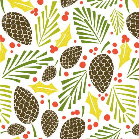 Winter Woodlands - Pinecones White  fabric by heatherdutton on Spoonflower - custom fabric