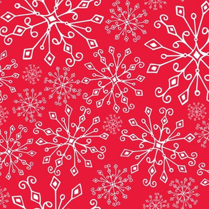 Frost Snowflakes -Christmas Red