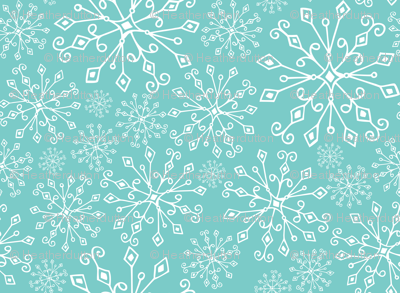 Frost Snowflakes - Christmas Aqua
