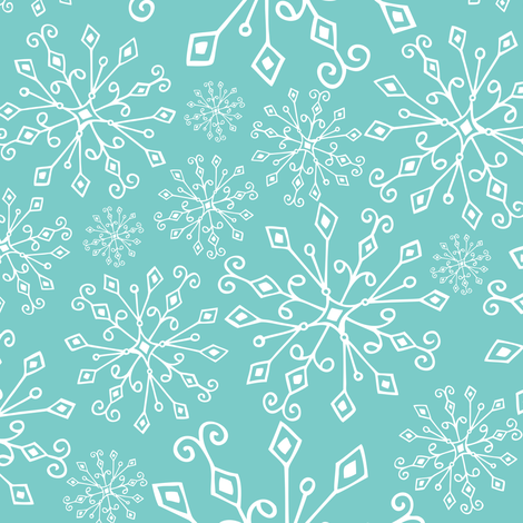 Frost Snowflakes - Christmas Aqua  fabric by heatherdutton on Spoonflower - custom fabric