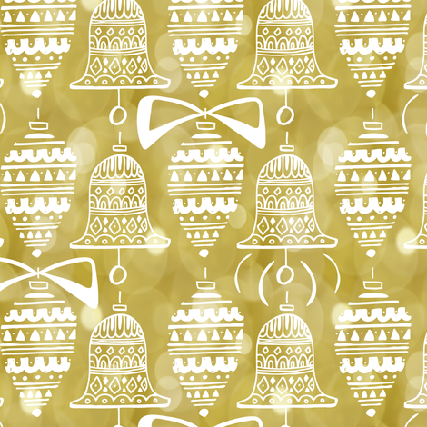 Celebrate The Season - Christmas Ornaments Gold Bokeh fabric by heatherdutton on Spoonflower - custom fabric