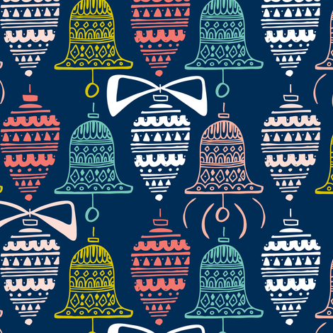 Celebrate The Season - Christmas Ornaments Navy Blue fabric by heatherdutton on Spoonflower - custom fabric