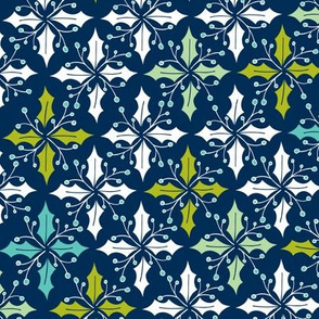 Holly Go Lightly - Christmas Geometric Navy Blue