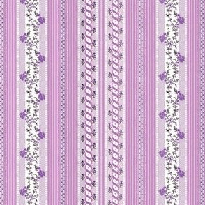 Marie Antoinette Floral Ticking ~ Purple