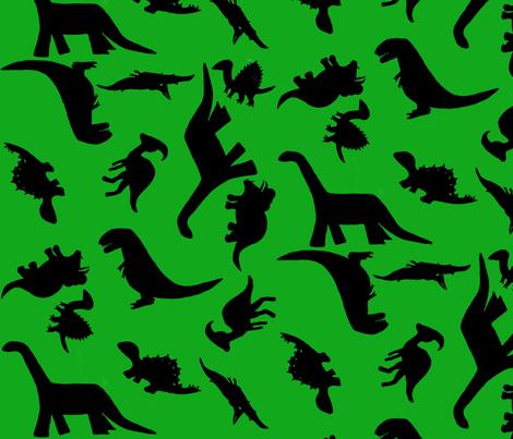 Dinos large green fabric by kimberlehi on Spoonflower - custom fabric