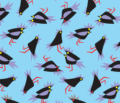 Black_cockatoos_blue fabric by malolo on Spoonflower - custom fabric