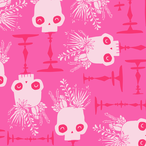 Scattered Skulls - Pretty Playful Pink Halloween Succulent Cactus  Floral hand drawn fabric by tonia_dee on Spoonflower - custom fabric
