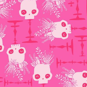 Scattered Skulls - Pretty Playful Pink Halloween Succulent Cactus  Floral hand drawn