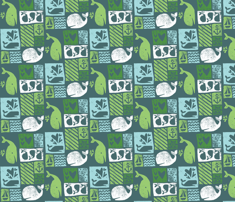 Carved Whales - Ocean fabric by tonia_dee on Spoonflower - custom fabric