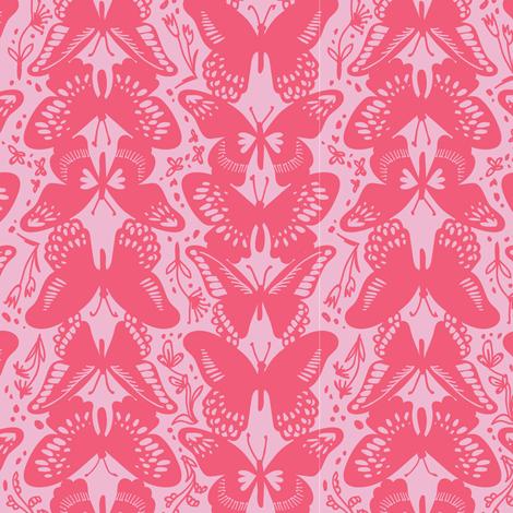 Flutter By, Butterflies - Pinks fabric by tonia_dee on Spoonflower - custom fabric