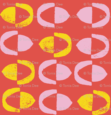 Abstract Acorns - Red Pink Yellow