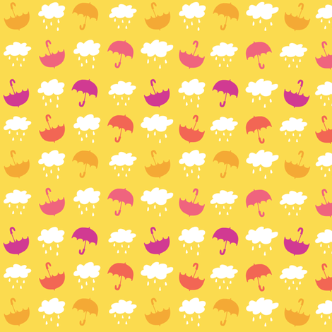 Umbrellas - Yellow - Small fabric by tonia_dee on Spoonflower - custom fabric
