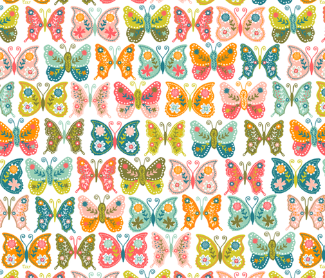Vintage Butterflies fabric by christinewitte on Spoonflower - custom fabric