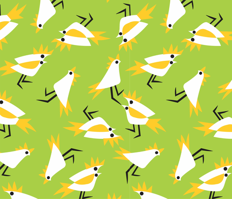 Cockatoos_green fabric by malolo on Spoonflower - custom fabric