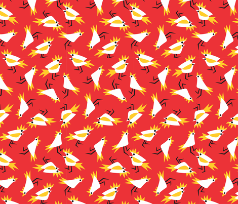 Cockatoos_red fabric by malolo on Spoonflower - custom fabric