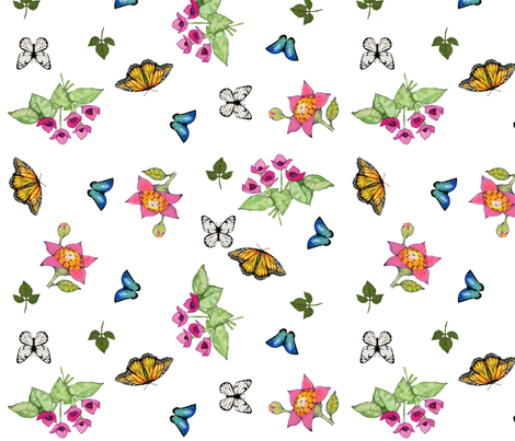 butterflies scattered fabric by golders on Spoonflower - custom fabric