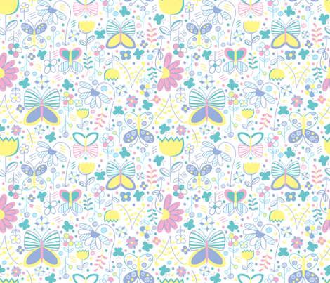 Butterfly Floral (Reduced) fabric by stephaniethornedesign on Spoonflower - custom fabric