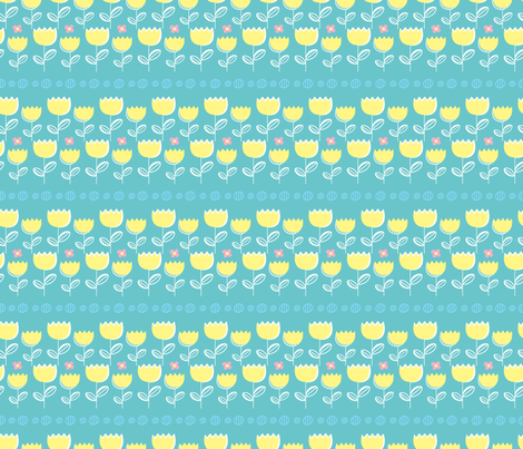 Butterfly Tulips (reduced) fabric by stephaniethornedesign on Spoonflower - custom fabric