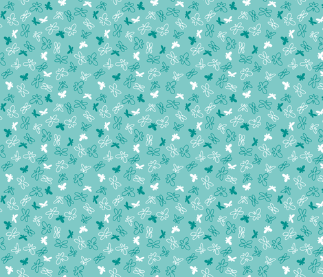 Delicate Delights Teal (Afternoon & Midnight) fabric by brendazapotosky on Spoonflower - custom fabric