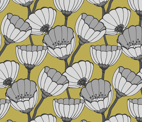 Anemone yellow fabric by feliciadavidsson on Spoonflower - custom fabric