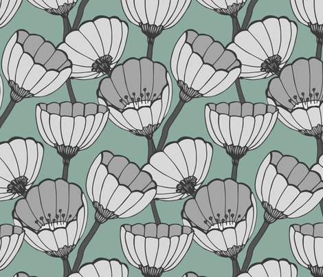 Anemone turquoise fabric by feliciadavidsson on Spoonflower - custom fabric