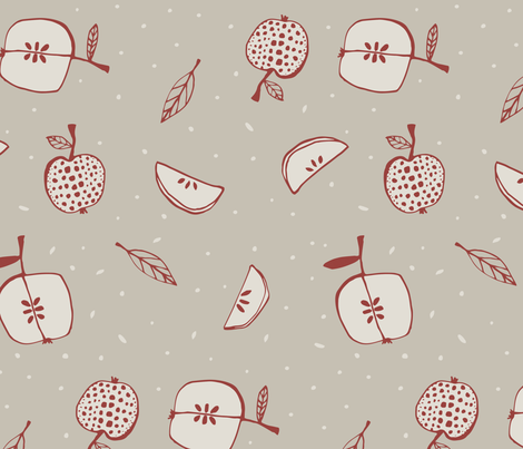 Apples red fabric by feliciadavidsson on Spoonflower - custom fabric