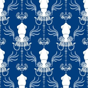 Squid Damask Navy/White