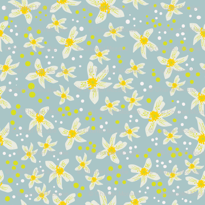 Lemon blossoms with white and yellow dots